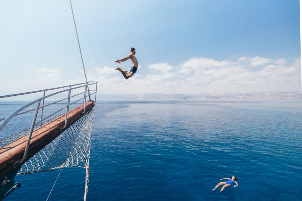 aqaba ship with person jumping
