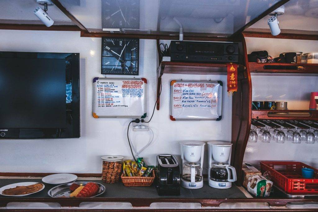 breakfast and coffee setup on smiling seahorse