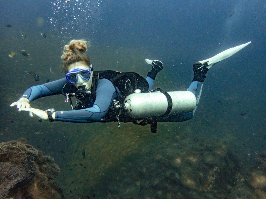 Sidemount diver at Chumphon pinnacle
